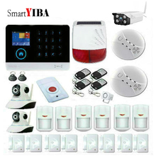 SmartYIBA Touch Keypad Wireless GSM WiFi GPRS Intelligent Alarm Security System Outdoor Solar Power Siren IP Camera Smoke Sensor