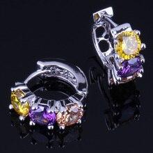 Glowing Yellow Purple Brown Cubic Zirconia 925 Sterling Silver Huggie Hoop Earrings For Women V0170