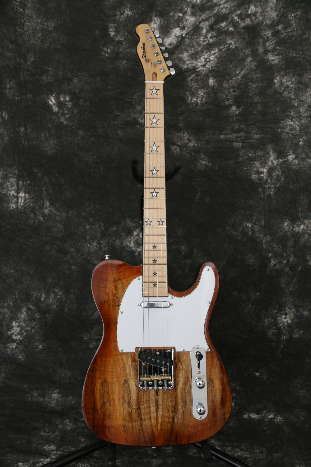 Spalted Maple Top String through Body light Brown Tele cast Electric guitar Guitarra All color Available electric guitar spalted flame body top mahogany body and neck natural brown finished body top soild black back free shipping