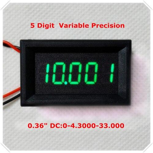 """RD 4 провода 0,3"""" точность переменной постоянного тока 0-33 в цифровой вольтметр напряжение Панель метр светодиодный дисплей Цвет [4 шт./лот] - Цвет: GREEN"""