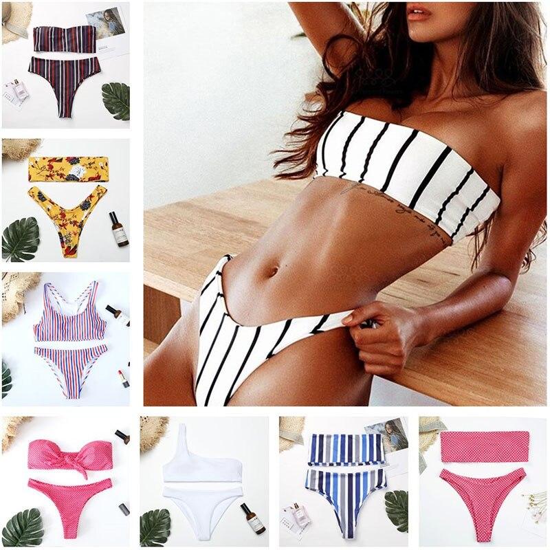 Striped Bow Dot Print Women Sexy Bikini Sets Off Shoulder Floral Hit Color Bandeau Maillot De Bain Strapless Bikinis Femme