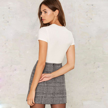 Haoduoyi Pencil Sexy High Waist Plaid Mini Short Skirt Casual Women Office Lady Buttoms Zipper Back Hot Sell The New Listing 1