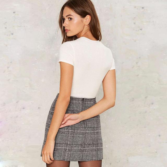 Women's High Waist Plaid Mini Skirt