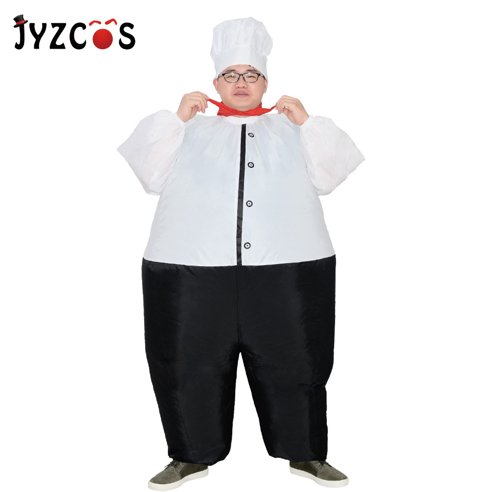 JYZCOS Funny Inflatable Costume Big Chef Cook Restaurant Halloween Fancy Dress for Women Men Purim Carnival Airblown Suit
