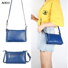 AOEO Messenger Bags Women Genuin Leather Casual Candy Colors Tassel Zipper 2019 New Design Lady Envelope Crossbody Bag For Girl