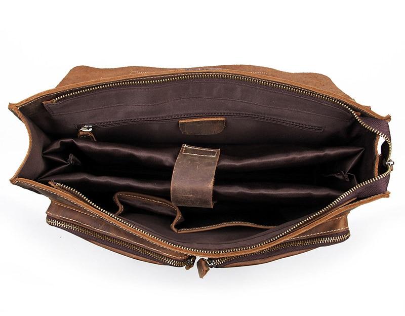 Augus мужские модные коричневые деловые портфели из натуральной коровьей кожи, сумка на плечо для ноутбука, сумка мессенджер 7105B 1 - 6