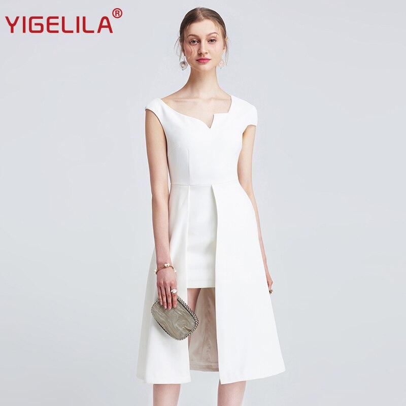 YIGELILA 2019 Women Summer White Dress Fashion Solid Sexy V neck Sleeveless Empire Slim Mid Length