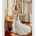 2017 Custom Made Bohemian Wedding Dress White Wedding Dresses 2017 with Lace Applique Sweetheart Ruffle Skirt Wedding Gowns