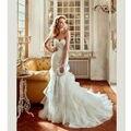 2017 Custom Made Vestido De Casamento Boêmio Branco Vestidos de Casamento 2017 com Rendas Applique Querida Ruffle Vestidos de Casamento Saia