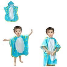 Большой размер 70x70 см, хлопковый Халат для малышей, банное полотенце с капюшоном и динозавром для маленьких мальчиков и девочек, халат для детей