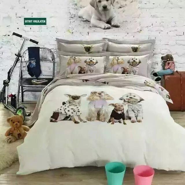 Kawaii Dog print bedding set king Queen size cartoon quilt