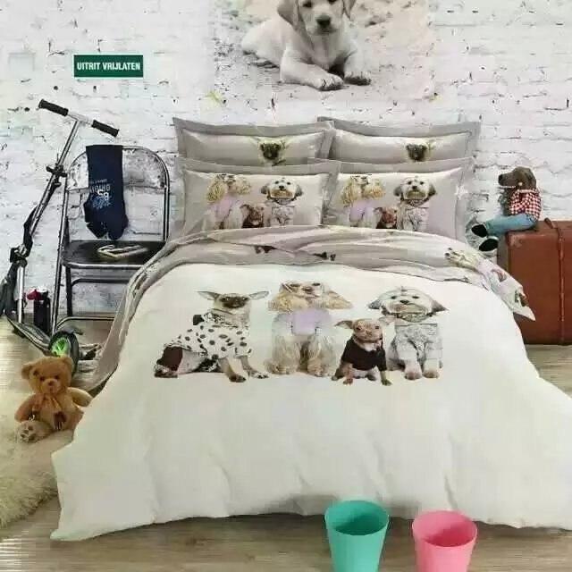 Kawaii Dog print bedding set king Queen size cartoon quilt duvet cover kids bed sheet bedspread bedroom linen cotton children