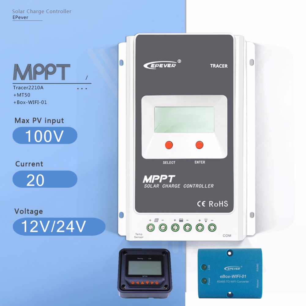 MPPT 20A Tracer 2210A LCD Solar Charge Controller 12V/24V Auto Solar Battery Charge Regulator with EBOX-WIFI and MT50 Meter tracer mppt lcd solar controller 20a solar charge controller 150v solar panel input remote meter lcd mt50 mt 50 epsolar ep solar