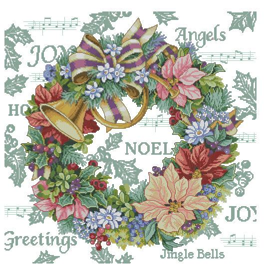 Top Quality Beautiful Lovely Counted Cross Stitch Kit Holiday Harmony Wreath Christmas Jingle Bells Dim 08662