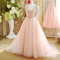 A line V neck Beading Crystal Lace Long Evening Dress 2017 Women New Arrival Formal Dresses Gowns robe de soiree ZX2