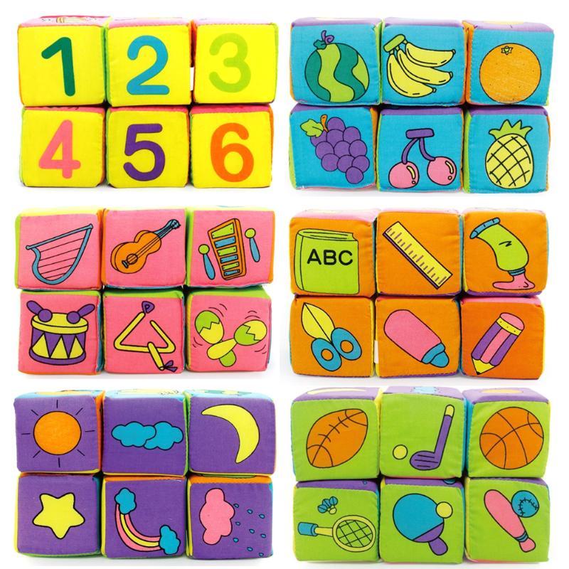 6pcs/set Infant Baby Soft Cloth Cube Building Blocks Kids Early Educational Toys Soft Blocks Set Baby Rattles Play Cube Cloth