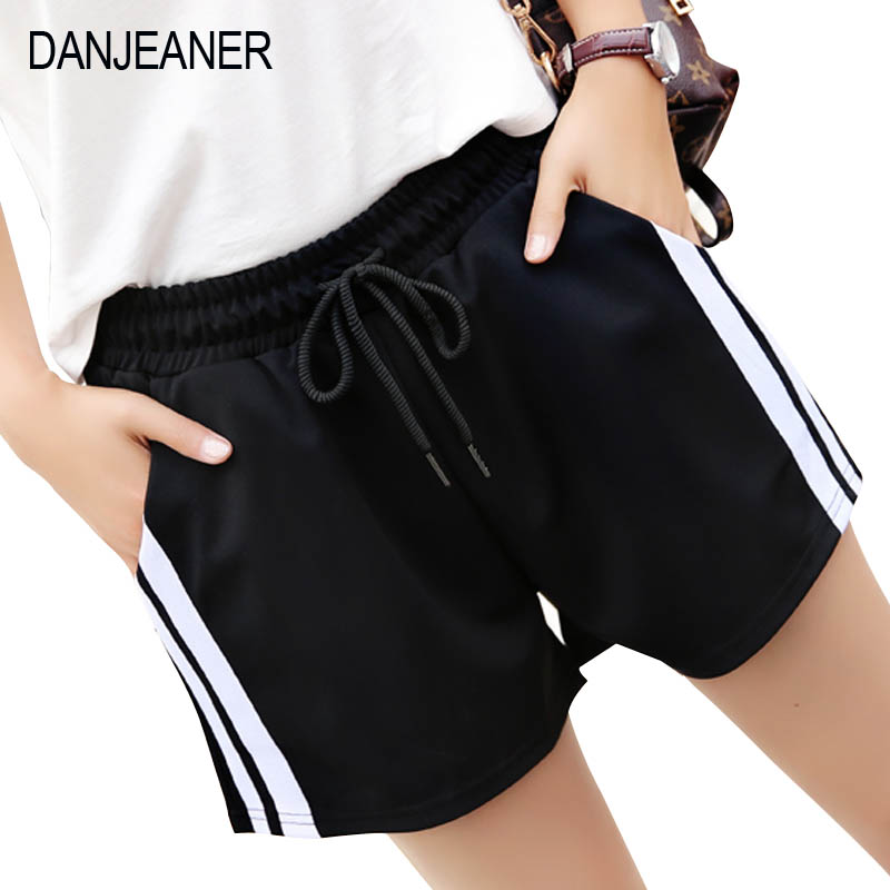 DANJEANER S-2XL Plus Size Women Shorts Summer Slim Polyester Casual White Egde Beach Shorts High Waist Drawstring Loose Shorts
