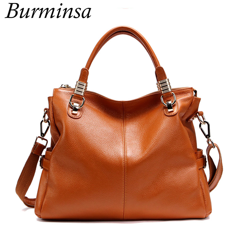 Burminsa Brand 100% Genuine Leather Bags Office Ladies Designer Handbags High Quality Tote Shoulder Bags Women Messenger Bags burminsa brand winter round saddle genuine leather bags smiley designer handbags high quality shoulder crossbody bags for women