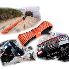 Chuang Qian Orange Nylon Synthetic Winch Cable Rope with Sheath for SUV ATV UTV Winches Truck Boat Ramsey Car 1/4