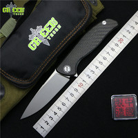 Green Thorn 95 HATI Flipper Folding Knife M390 Steel Bearing Titanium CF 3D Handle Camping Hunting