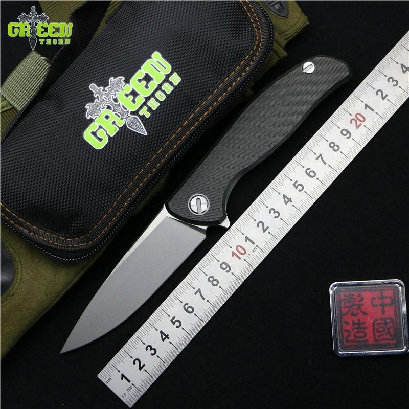 Cuchillo plegable verde Espino 95 HATI Flipper M390 rodamiento de acero titanio CF 3D mango camping caza al aire libre cuchillos de fruta EDC herramienta