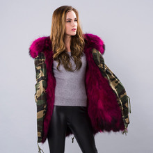 JKP autumn and winter fashion street long natural raccoon hair lining womens coat large fur collars to overcome clothes