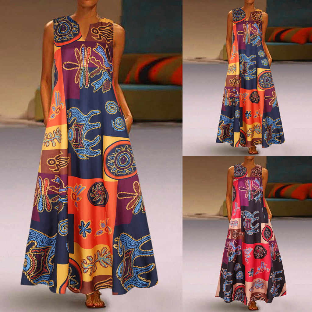 Women Summer Dress Plus Size Print Daily Casual Sleeveless Vintage Bohemian V Neck Maxi Dress Female Fashion Vestidos M40#