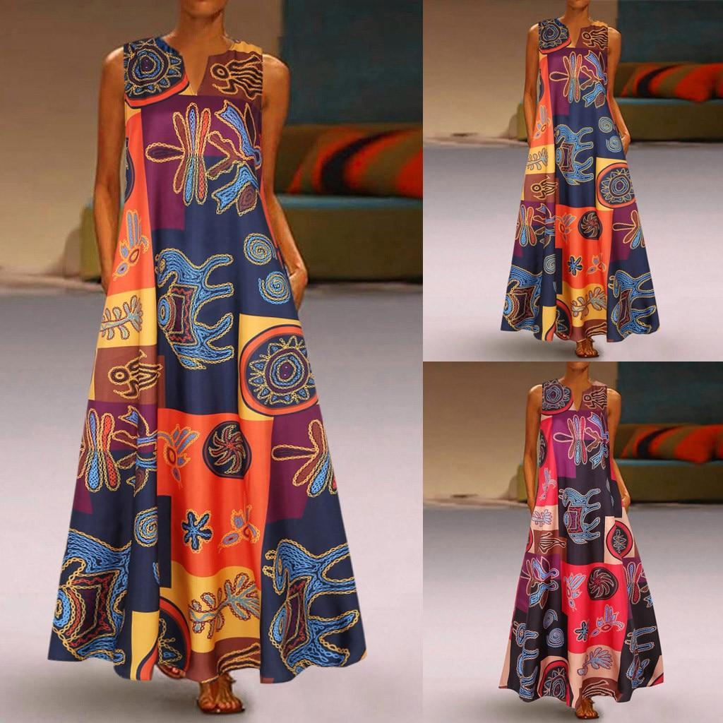 Women Summer Dress Plus Size Print Daily Casual Sleeveless Vintage Bohemian V Neck Maxi Dress Female Fashion Vestidos M40#(China)
