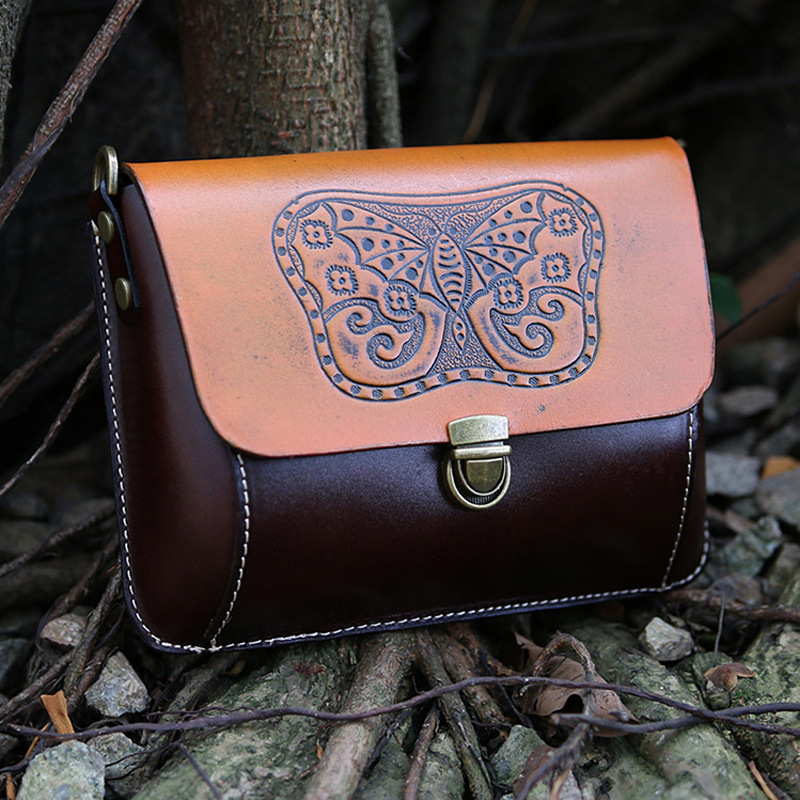 Echte Natürliche Leder Frauen Einzigen Schulter Tasche Schwarz/Braun Mini Weibliche Casual Geprägt Schmetterling Messenger Tasche - 3