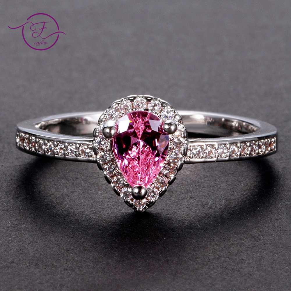 Exquisite Little Pink Spinel Gemstone Woman Wedding Finger Rings Sterling  Jewelry Bridal Ring WIth Shinning Zircon