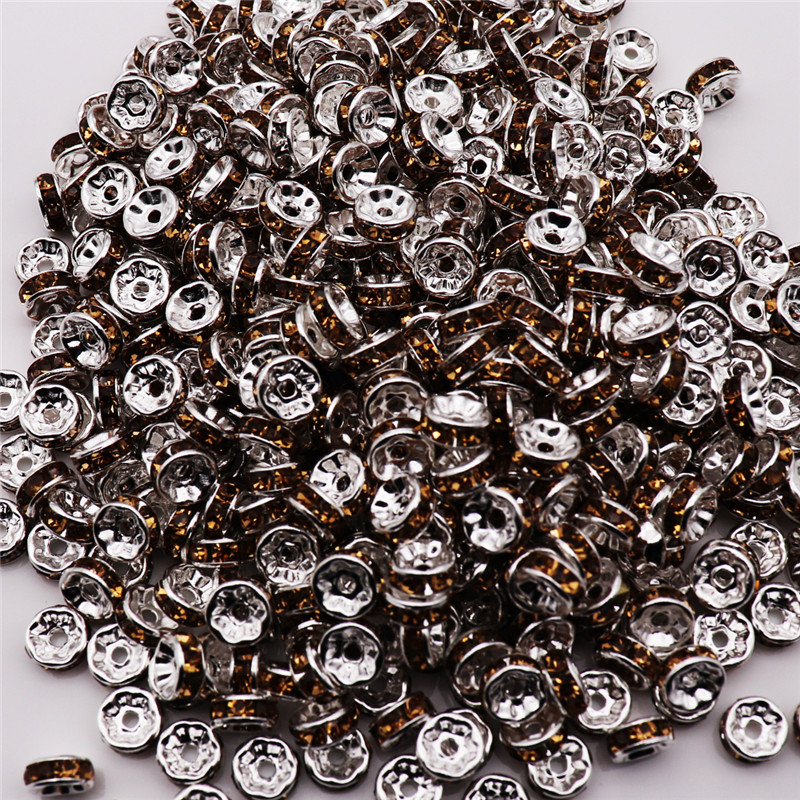 Beads 100pcs Lot 8mm 925 Silver Color And Clear Crystal Rhinestone Small Hole Spacer Bead Charm For Bracelet Necklace Diy Jewelry Let Our Commodities Go To The World Jewelry & Accessories