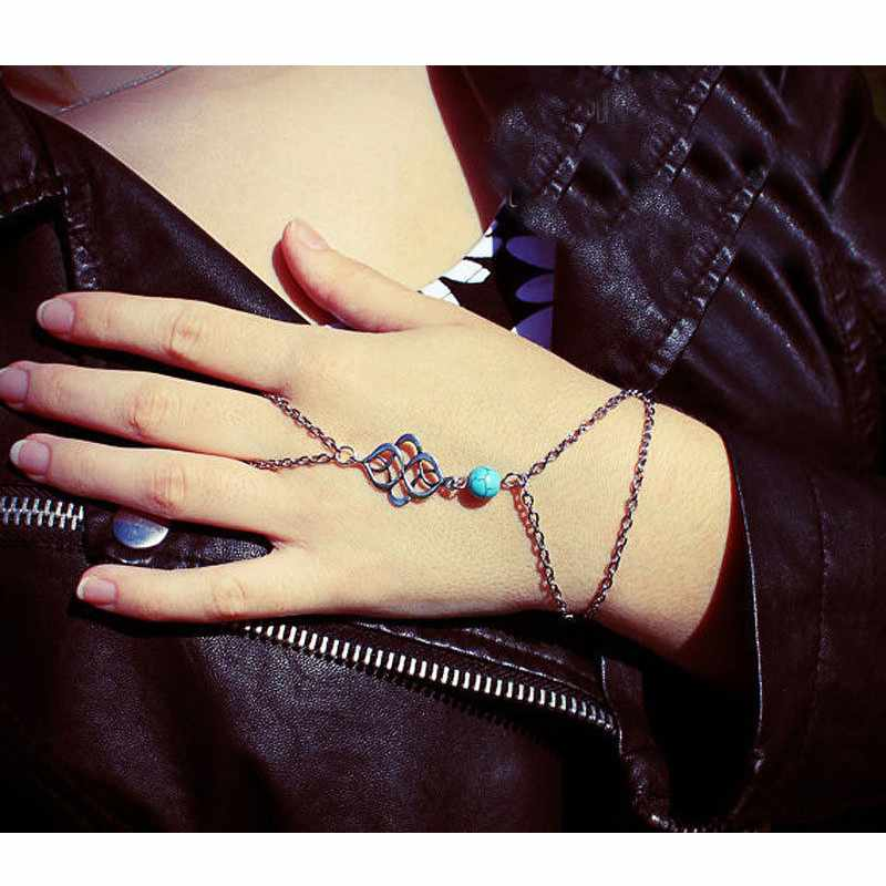New Style Women Girl Beach Boho Finger Ring Bracelet Slave Harness ...