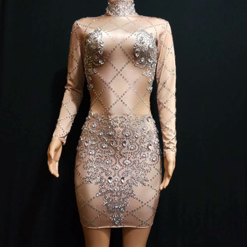 Sparkly Crystal Mini Dress Women Birthday Rhinestones Stage Costume Prom Celebrate Bling Bodycon Dresses Evening Event Outfits