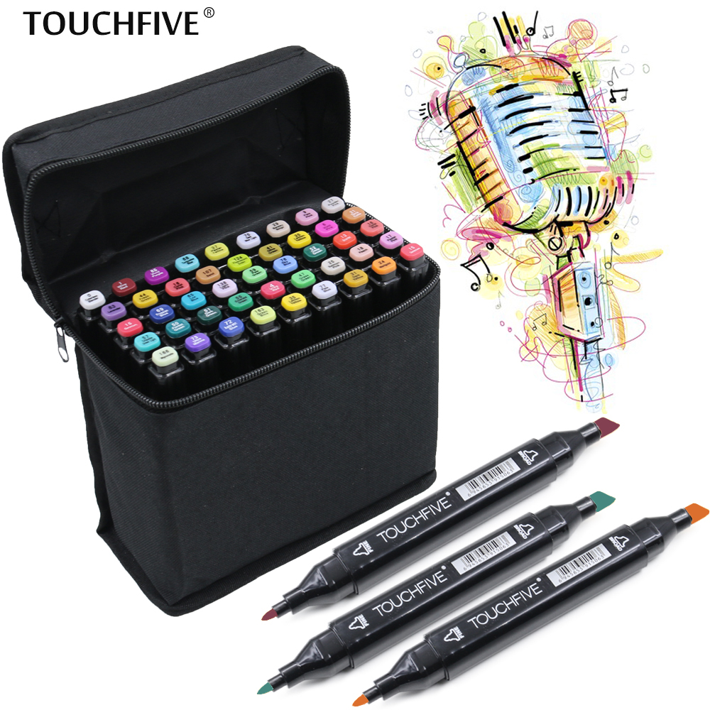 TouchFIVE 168 Colors Watercolor Oily Alcoholic Dual Headed Manga Painting Markers Sketch Set Liners For Drawing touchfive 36 48 60 72 colors art marker set oily alcoholic sketch markers double headed for animation manga draw