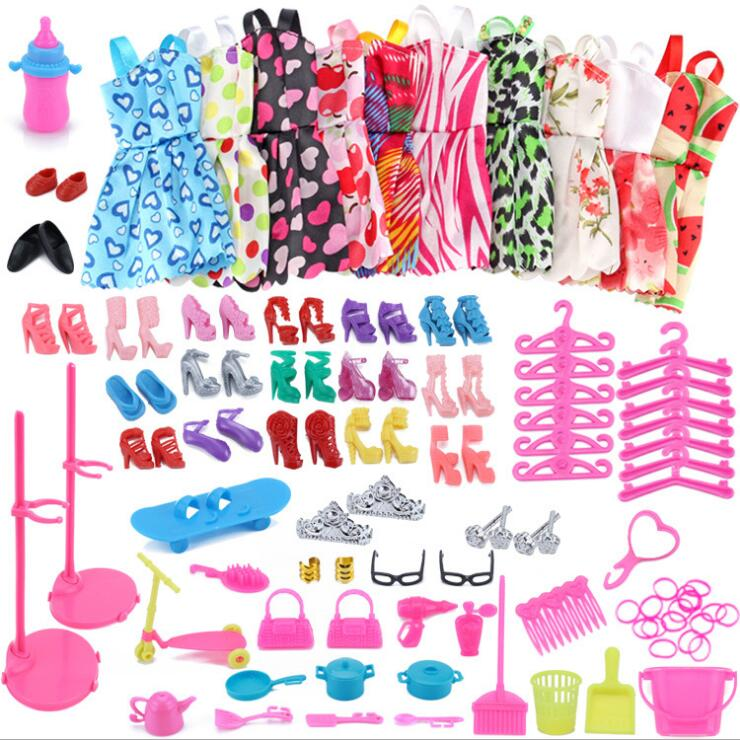 83Pcs/set Bag Shoes Dress Fashion Doll Accessories Dressup Clothes Dolls Set Toys For Children DIY Furniture Clothing For Barbie