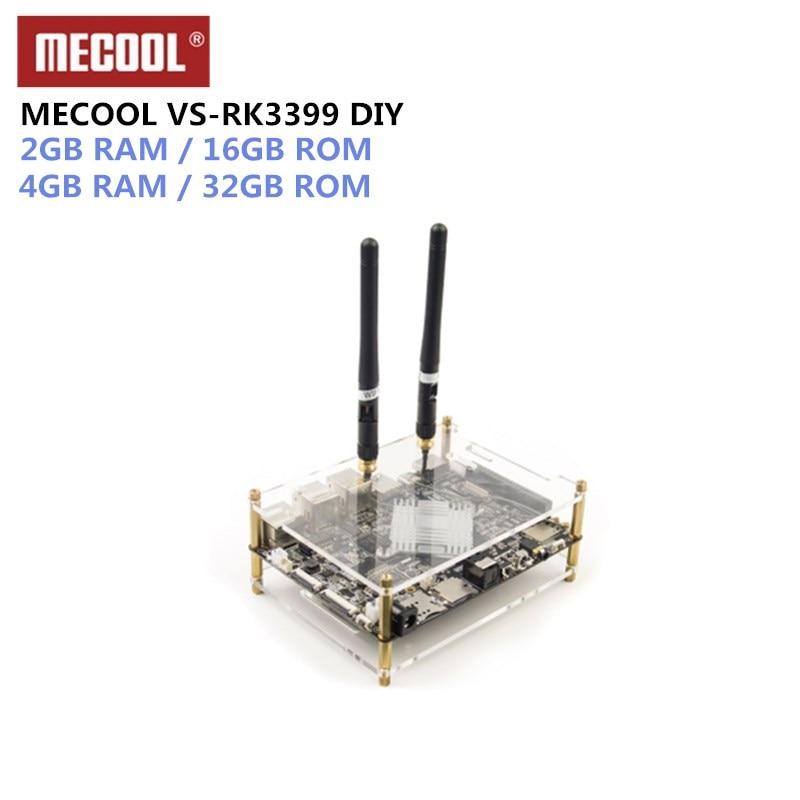 MECOOL VS-RK3399 DIY RK3399 Mali-T860 TV Box Super Development Board 4K 10Bit VP9 Android 7.1 4G+32G/2G+16G H.264 H.265