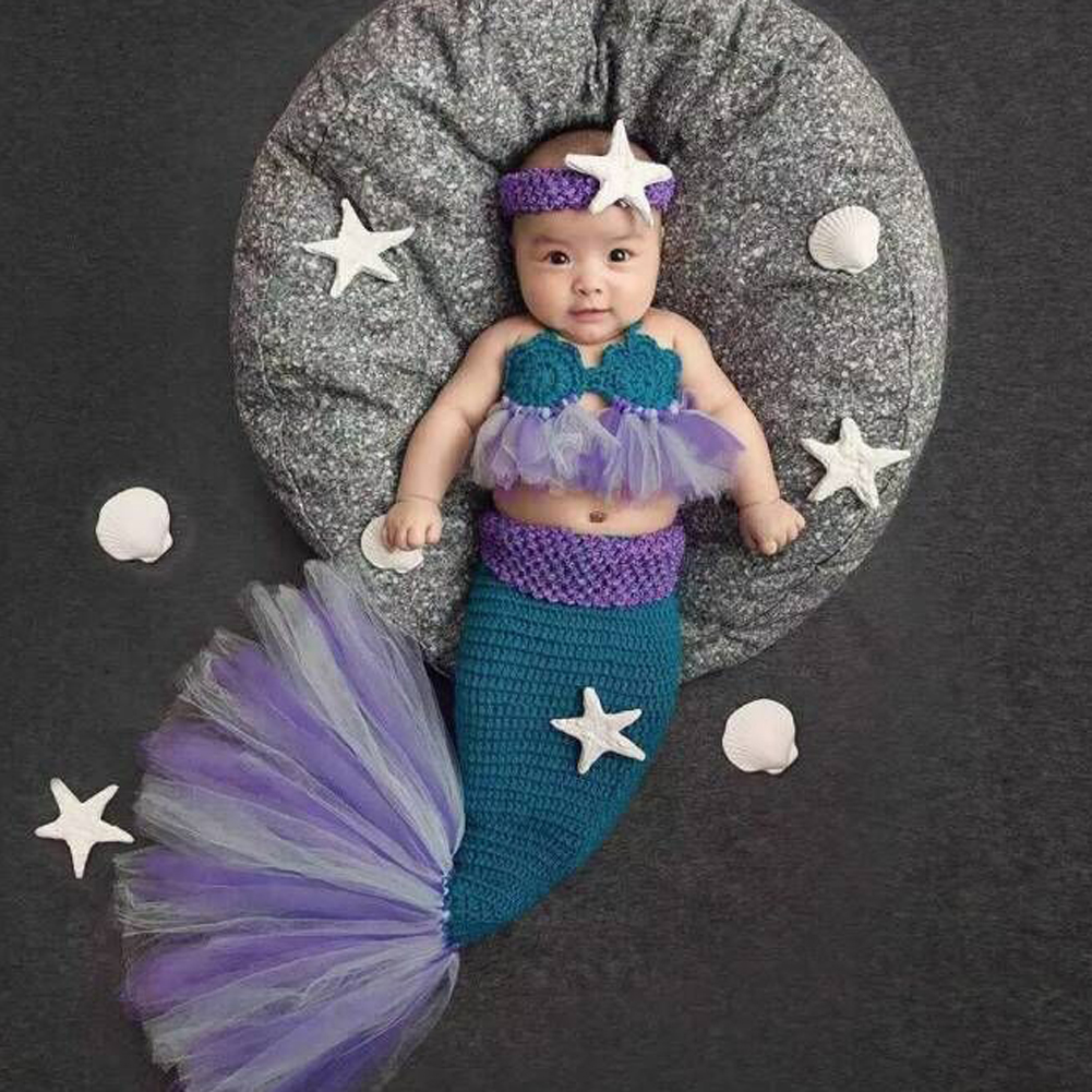 Newborn Baby Crochet Photography Props Princess Girls Mermaid Costume for Photo Shoot Infant Beanies Caps Warm Baby Outfits Set newborn photography prop crochet mermaid costume set