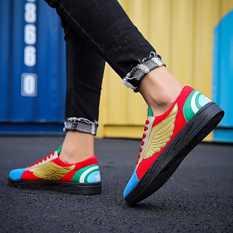 Sneakers Lace Respiráveis Homens Sapatos vermelho Outono Pu Casuais Retro Casual Costura Baixos Up Moda Primavera Vulcanizar Misturadas Dos Ouro Cores prata Dourado gtaqxv7