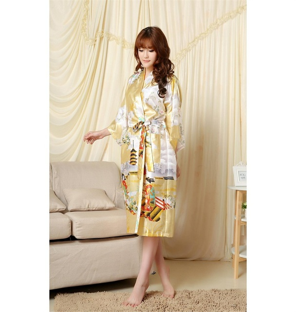 Hot Sale Gold Chinese Women s  Tradition Bath gown Silk Bathrobe Kimono  Gown Kaftan Flower S M L 00a7bd51d
