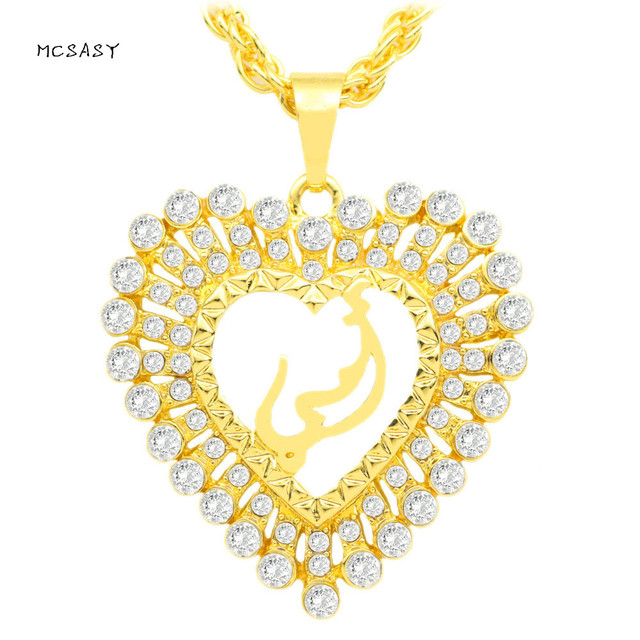 Mcsays Religion Muslim Jewelry Love Heart Crystal Bling Islamic