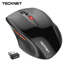 TeckNet Classic Wireless Mouse 2.4GHz Portable Optical USB Nano Receiver Mice Computer PC 6 Buttons 2400 DPI 5 Adjustment Levels