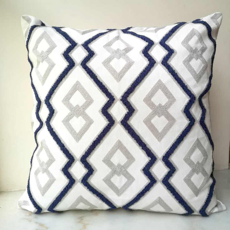 Sensational Grey Blue Cushion Cover Cute Diamond Geometric Embroidery Gmtry Best Dining Table And Chair Ideas Images Gmtryco