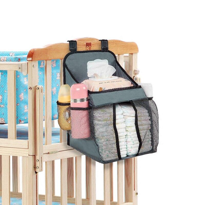 Nylon Mesh Baby Bed Bedside Storage Nursery Hanging Bag Newborn Bottle Diaper Multi-function Crib Organizer Cradle Bag Bedding