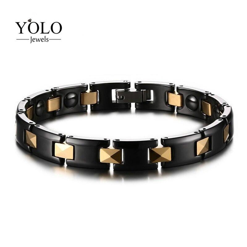 Unisexe noir en céramique hommes pur titane Bracelet magnétique pour hommes aimants Ions négatifs Germanium santé Bracelets bijoux 2019