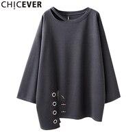 Chicever 2017 otoño irregular mujeres camisetas para mujeres Top manga larga suelta hueco negro camiseta ropa de moda nueva