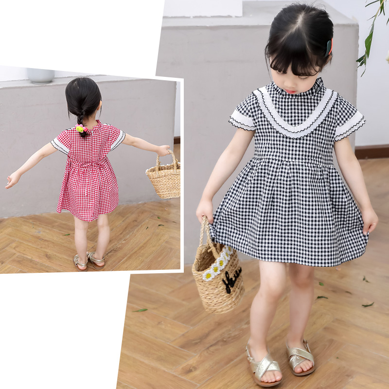 Girl Dress Children Plaid Dress Girls kids A line Dress Cotton Princess Dresses Girls party Clothes 2019 fashion new for Summer in Dresses from Mother Kids