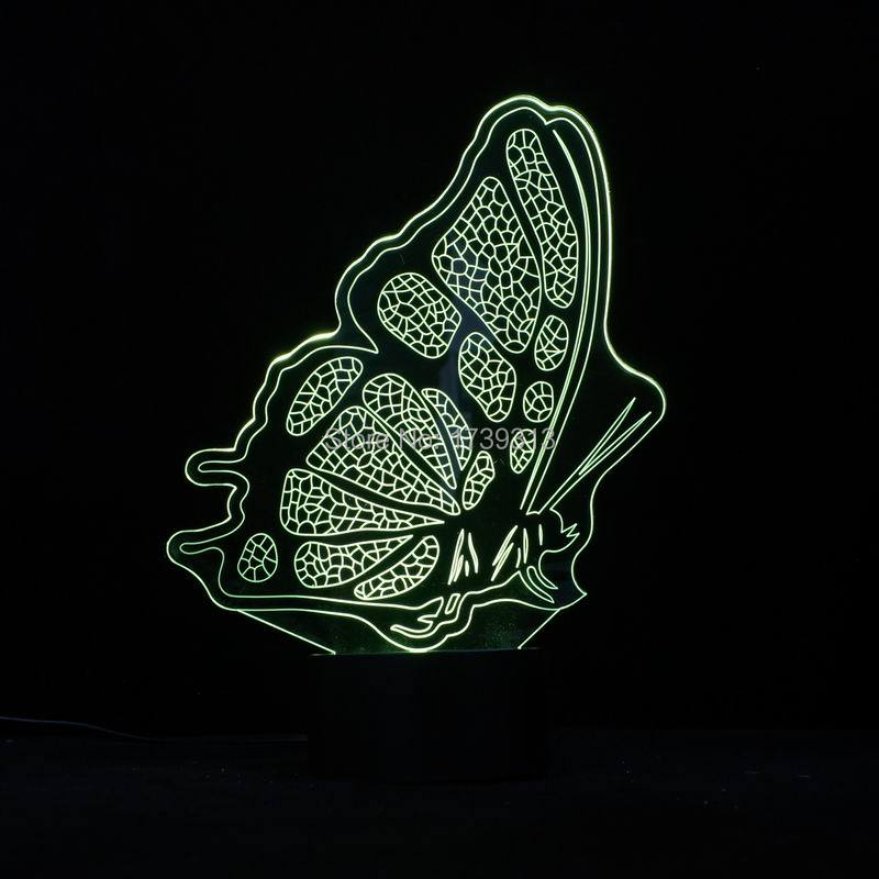 Graceful Butterfly Shape 3D led table Lamp 7 Color Changing Lights FS 3127