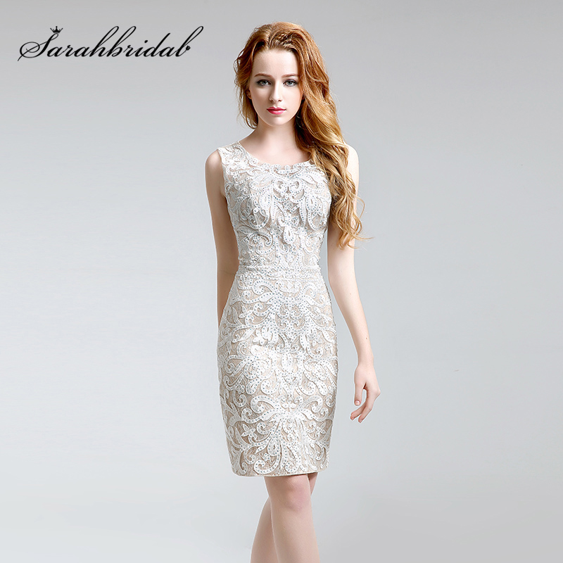 New Short Ivory   Evening     Dresses   2018 Sexy Open Back Beaded Lace Prom Gowns Cheap Wedding Party Formal Occasion   Dress   Gala OL199