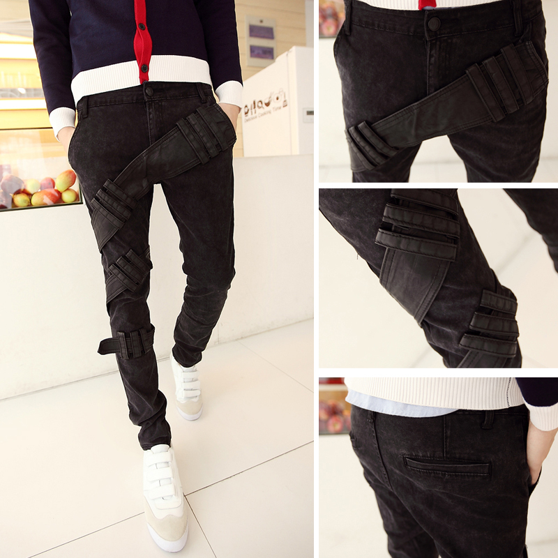 ФОТО 2016 Spring new fashion male  black classic personality slim fit  jeans / men's youth pop solid color trousers/ male pants MB289