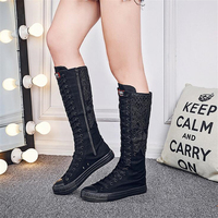 Ladies Shoes Autumn Fahion Canvas Shoes Women Lace Embroidery Knee High Boots Side Zipper Motorcycle Boots Plus Size 35 43